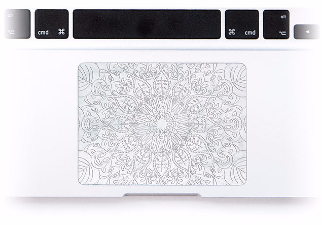 White Marble Mandala MacBook Trackpad Sticker at Keyshorts.com