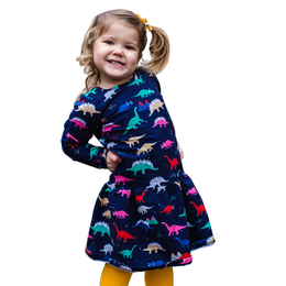 Dino Roar - Herbivore Jurassic Classic Dinosaur Long Sleeve Dress