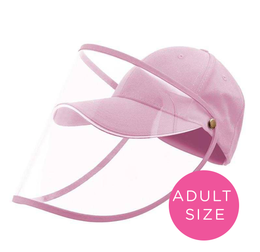 Adults Baseball Cap With Detachable Shield - Blush Pink - SHIPS MID JUNE