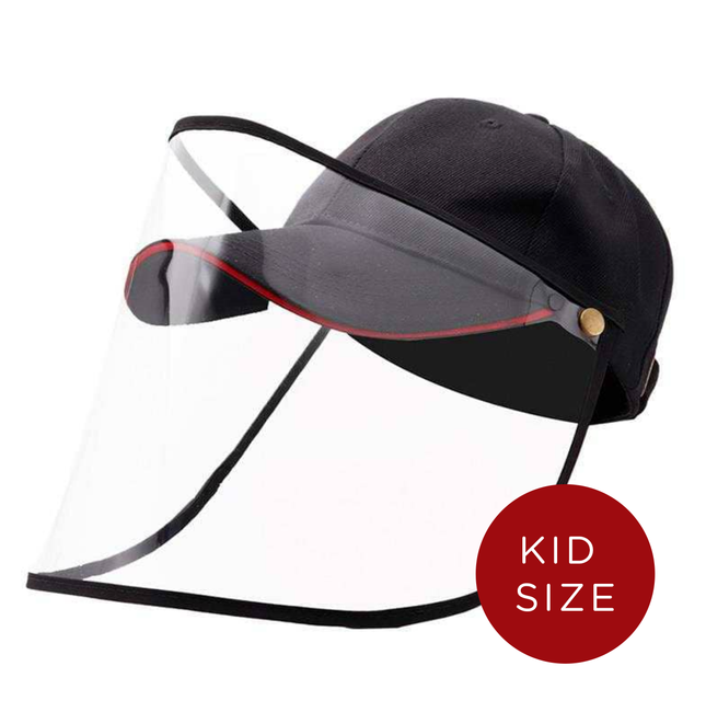 Kids Baseball Cap With Detachable Shield -  Sporty Black - SHIPS SAME DAY!