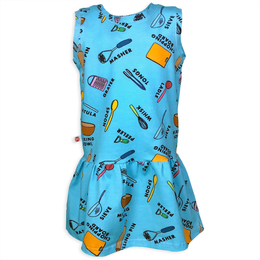 Blue Baking Dress with Fun Educational Baking Utensils