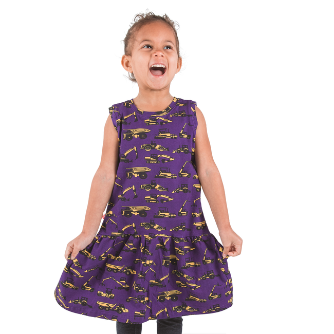 Purple Construction Trucks Sleeveless Dress