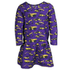 Purple Construction Trucks Long Sleeve Dress