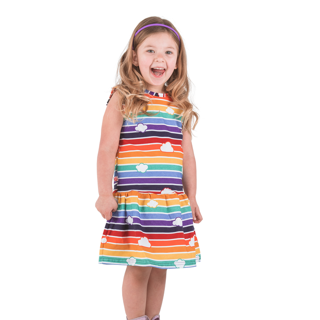 Retro Rainbow Children's Dress with Clouds