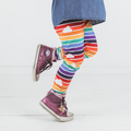 Retro Rainbow Leggings with Clouds