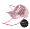 Adults Baseball Cap With Detachable Anti-Fog Shield - Sparkle Pink Pearl - SHIPS SAME DAY!