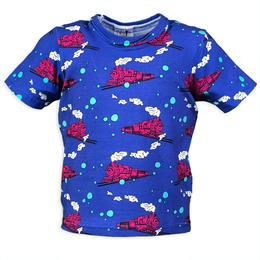 Pink and Blue Steam Engine Train T-shirt