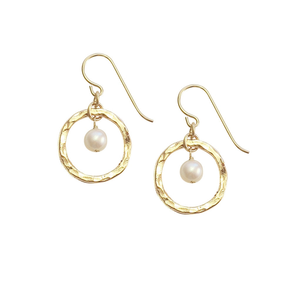 Delicate Pearl Hoop Earrings