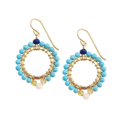 Drop Earrings in Yellow Jade