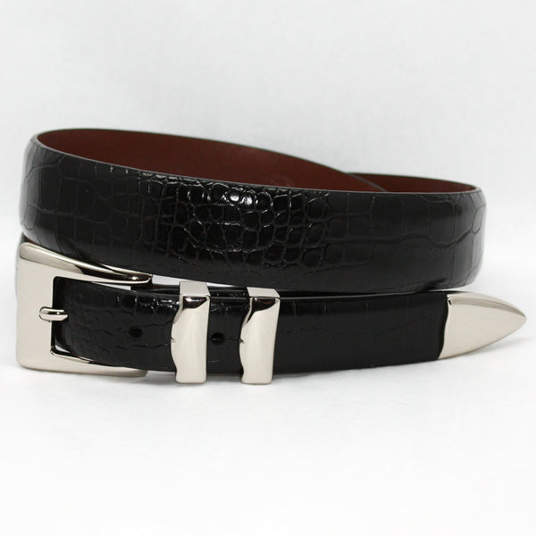 Torino Alligator Embossed Calf Belt With Nickel Set