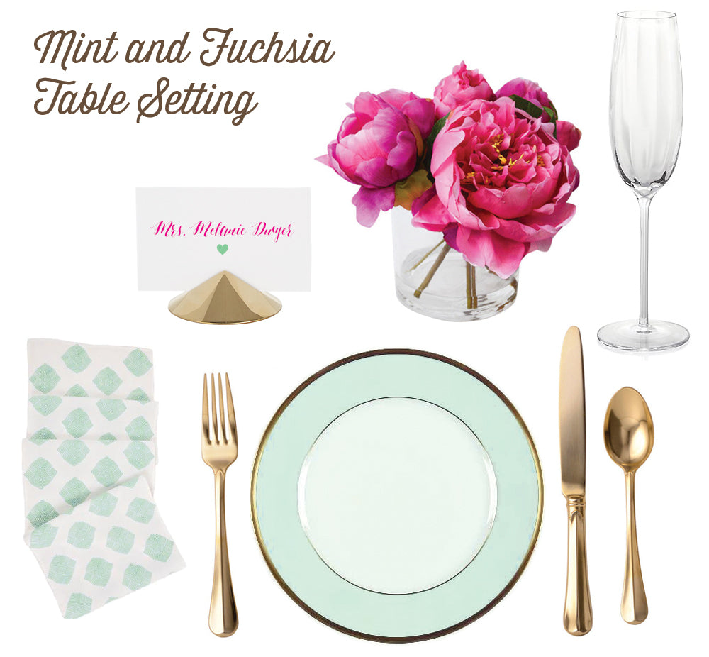 Mint Fuchsia and Gold Table Setting - Silhouette Blue Stationery Blog