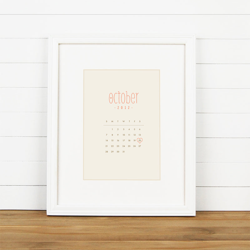 Calendar Art Print for First Year Paper Anniversary