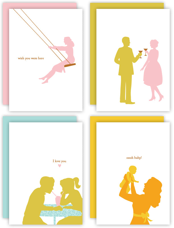The original collection of Silhouette Blue greeting cards