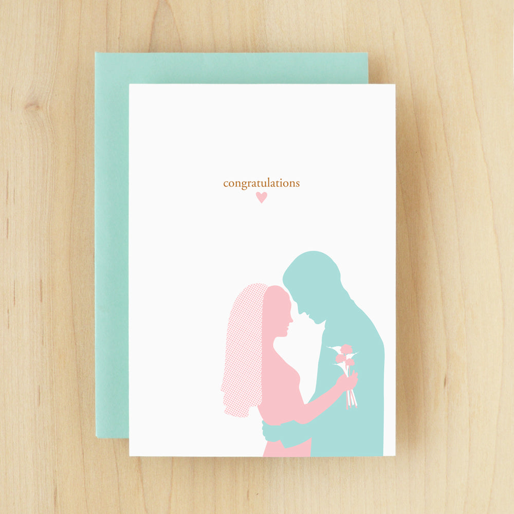 """Congratulations"" Silhouette Wedding Greeting Card #101"