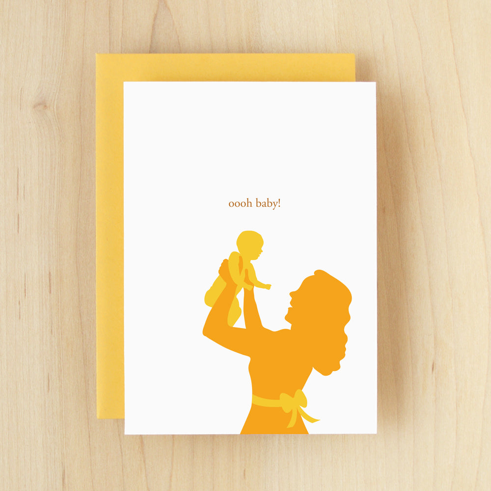 Oooh Baby Silhouette Baby Greeting Card 102 Silhouette Blue