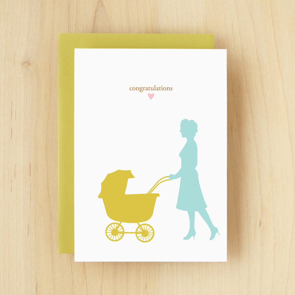 """Congratulations"" Silhouette Carriage Greeting Card #103"