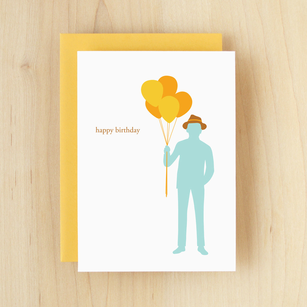 """Happy Birthday"" Silhouette Balloons Greeting Card #105"