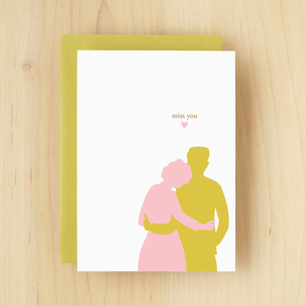 """Miss You"" Silhouette Couple Greeting Card #107"