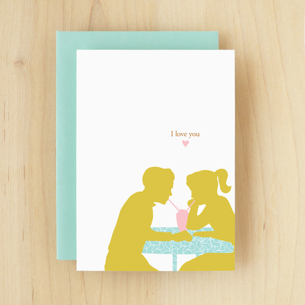 """I Love You"" Silhouette Milkshake Greeting Card #109"