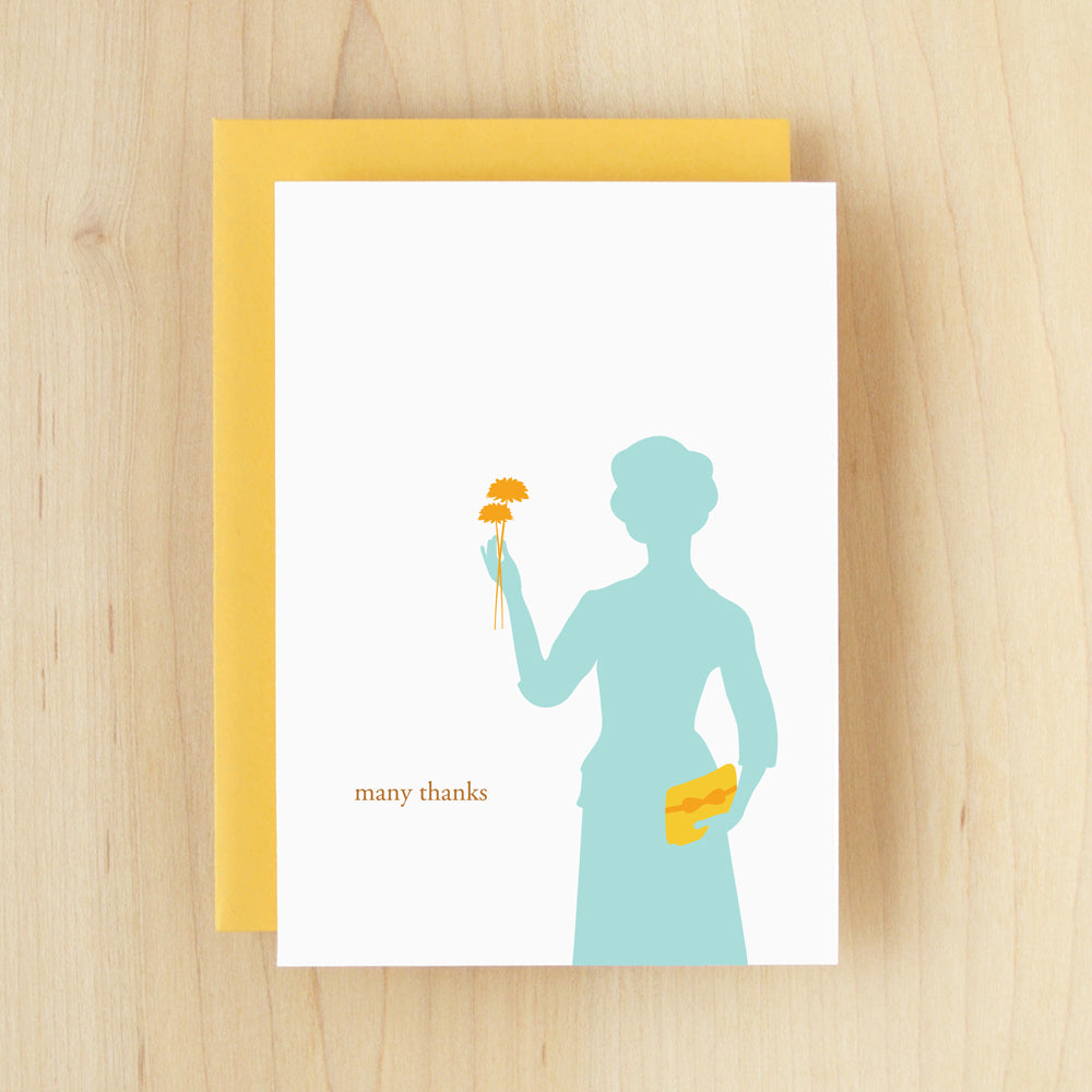 """Many Thanks"" Silhouette Thanks Greeting Card #113"