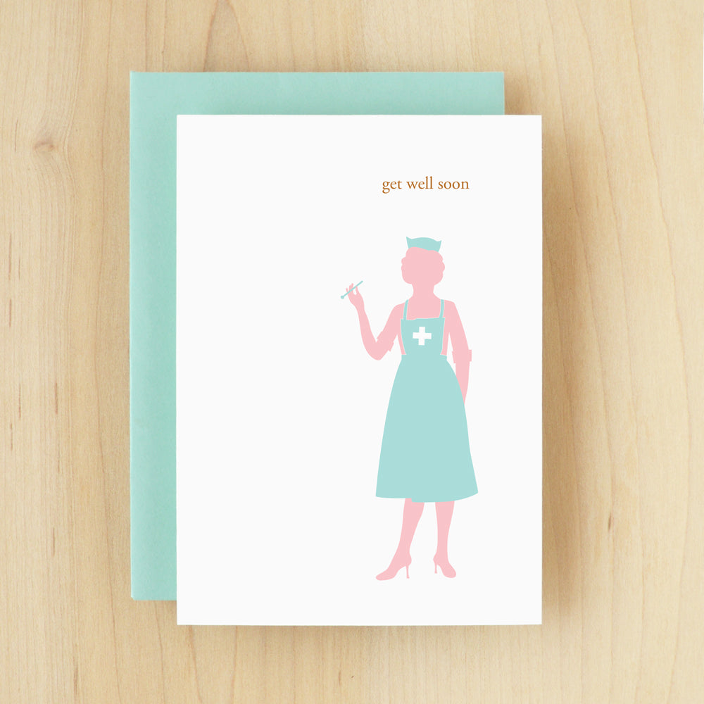"""Get Well Soon"" Silhouette Nurse Greeting Card #114"