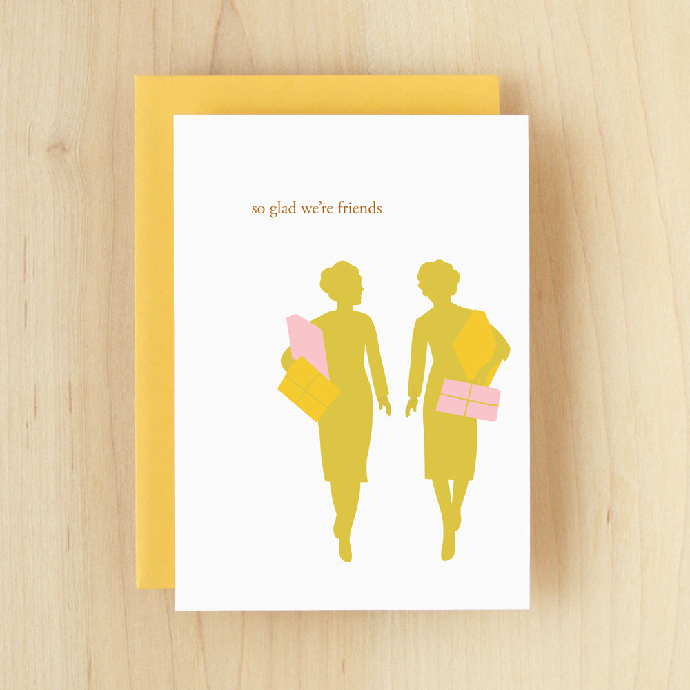 """So Glad We're Friends"" Silhouette Shopping Greeting Card #115"