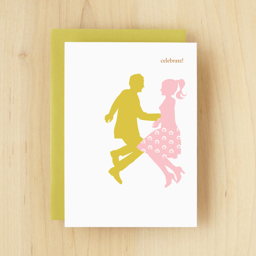 """Celebrate!"" Silhouette Dance Greeting Card #116"