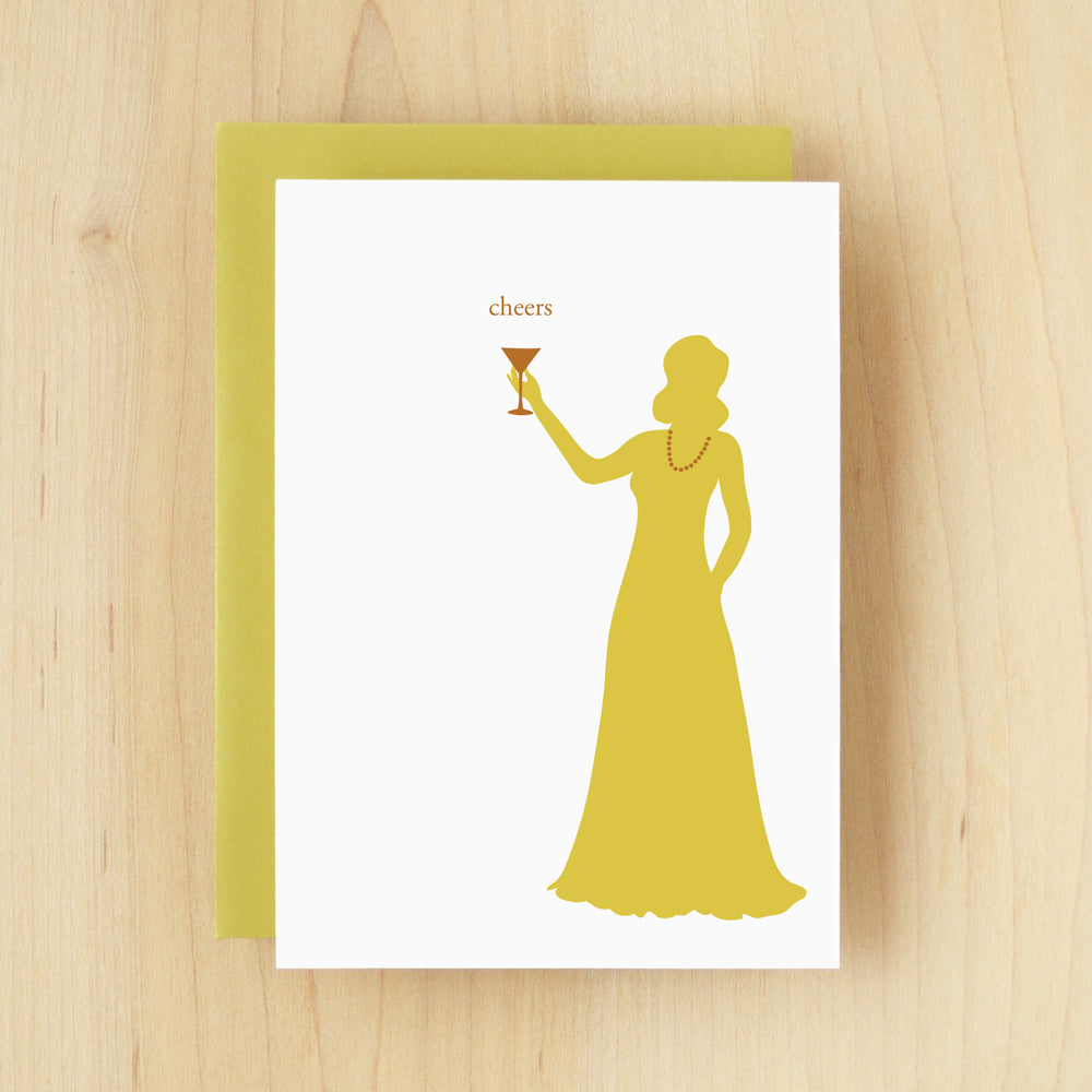"""Cheers"" Silhouette Martini Greeting Card #118"