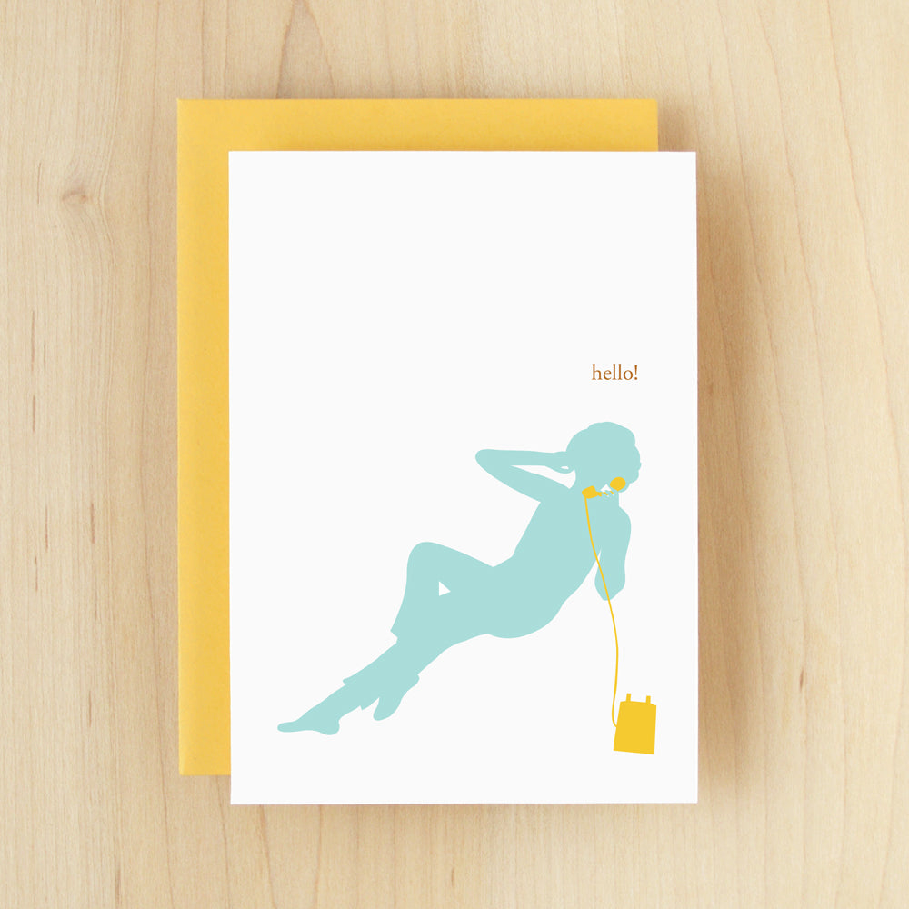 """Hello!"" Silhouette Telephone Greeting Card #119"