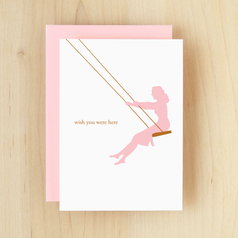 """Wish You Were Here"" Silhouette Swing Greeting Card #120"