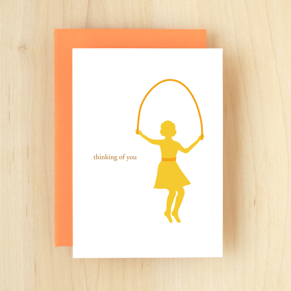 """Thinking Of You"" Silhouette Jump Rope Greeting Card #121"