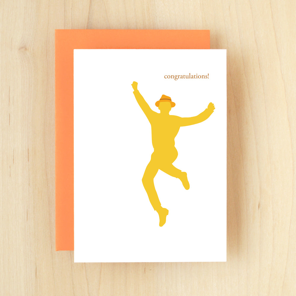 """Congratulations!"" Silhouette Congrats Boy Greeting Card #122"