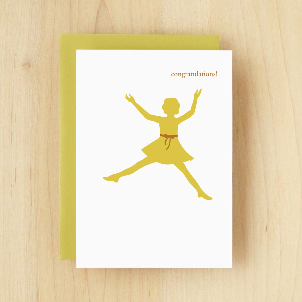 """Congratulations!"" Silhouette Congrats Girl Greeting Card #123"