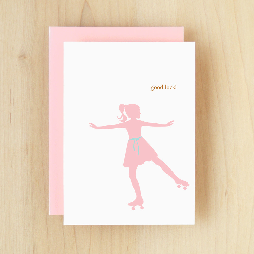 """Good Luck!"" Silhouette Rollerskate Greeting Card #124"
