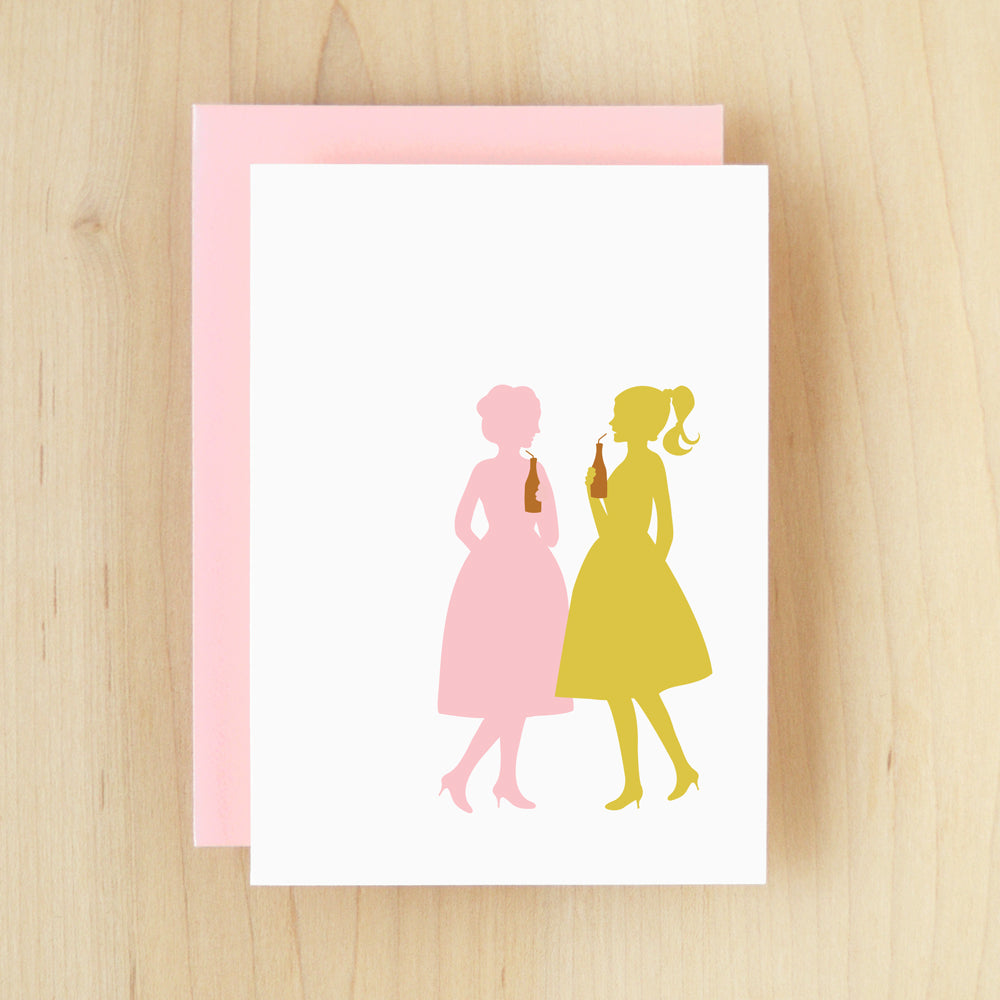 BLANK Silhouette Chat Greeting Card #127