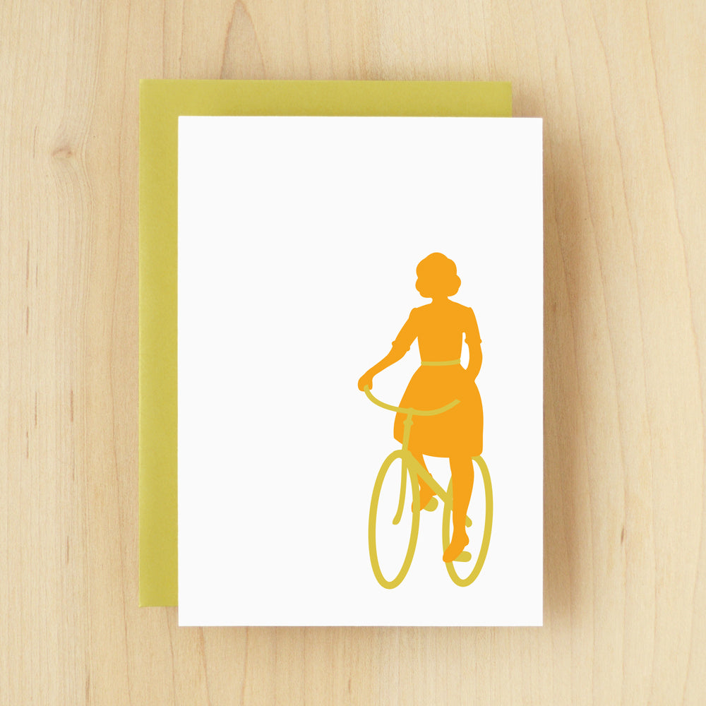 BLANK Silhouette Bicycle Greeting Card #129