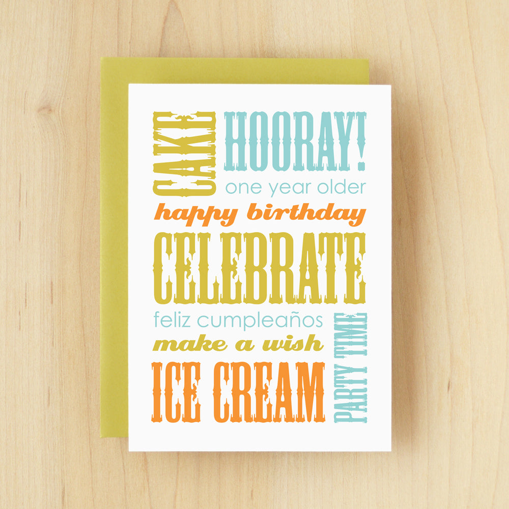 """Happy Birthday"" Slogan Birthday Green Greeting Card #142"