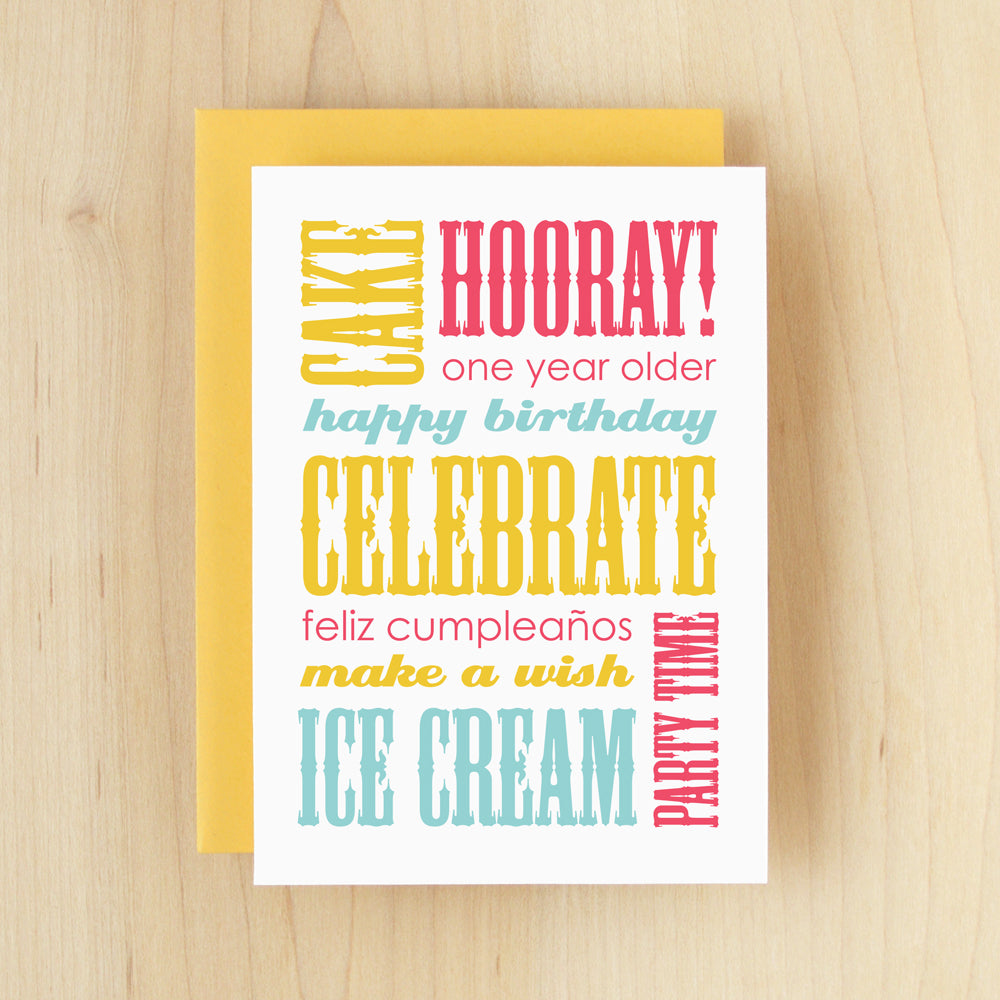 """Happy Birthday"" Slogan Birthday Yellow Greeting Card #143"