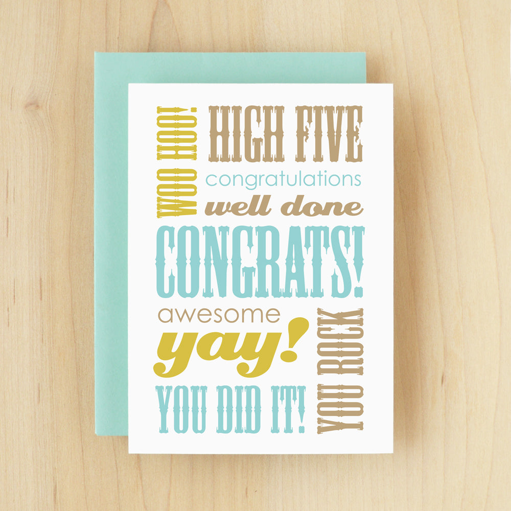 """Congrats!"" Slogan Congrats Blue Greeting Card #144"
