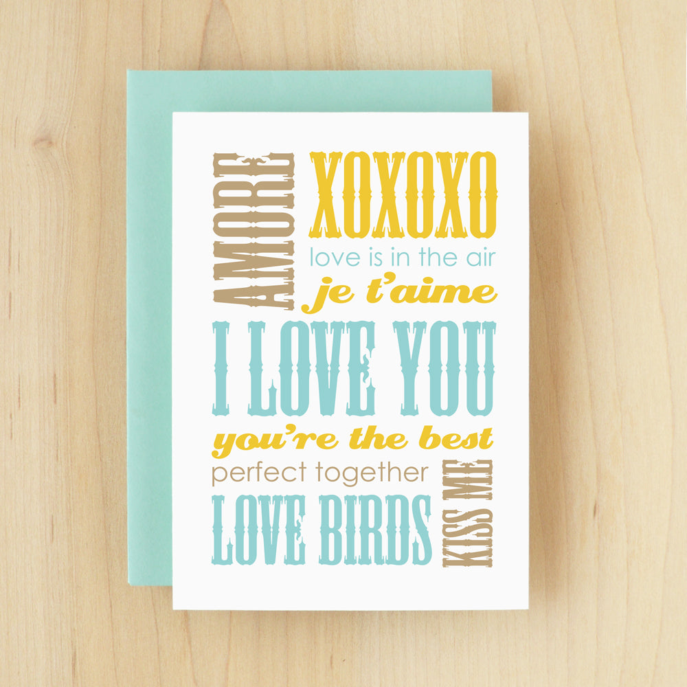 """I Love You"" Slogan Love Blue Greeting Card #146"