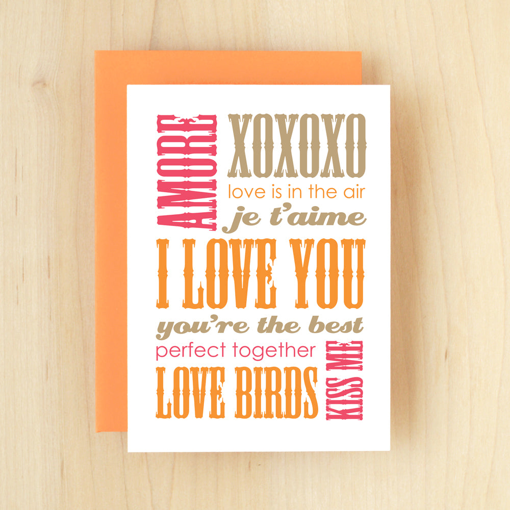 """I Love You"" Slogan Love Orange Greeting Card #147"