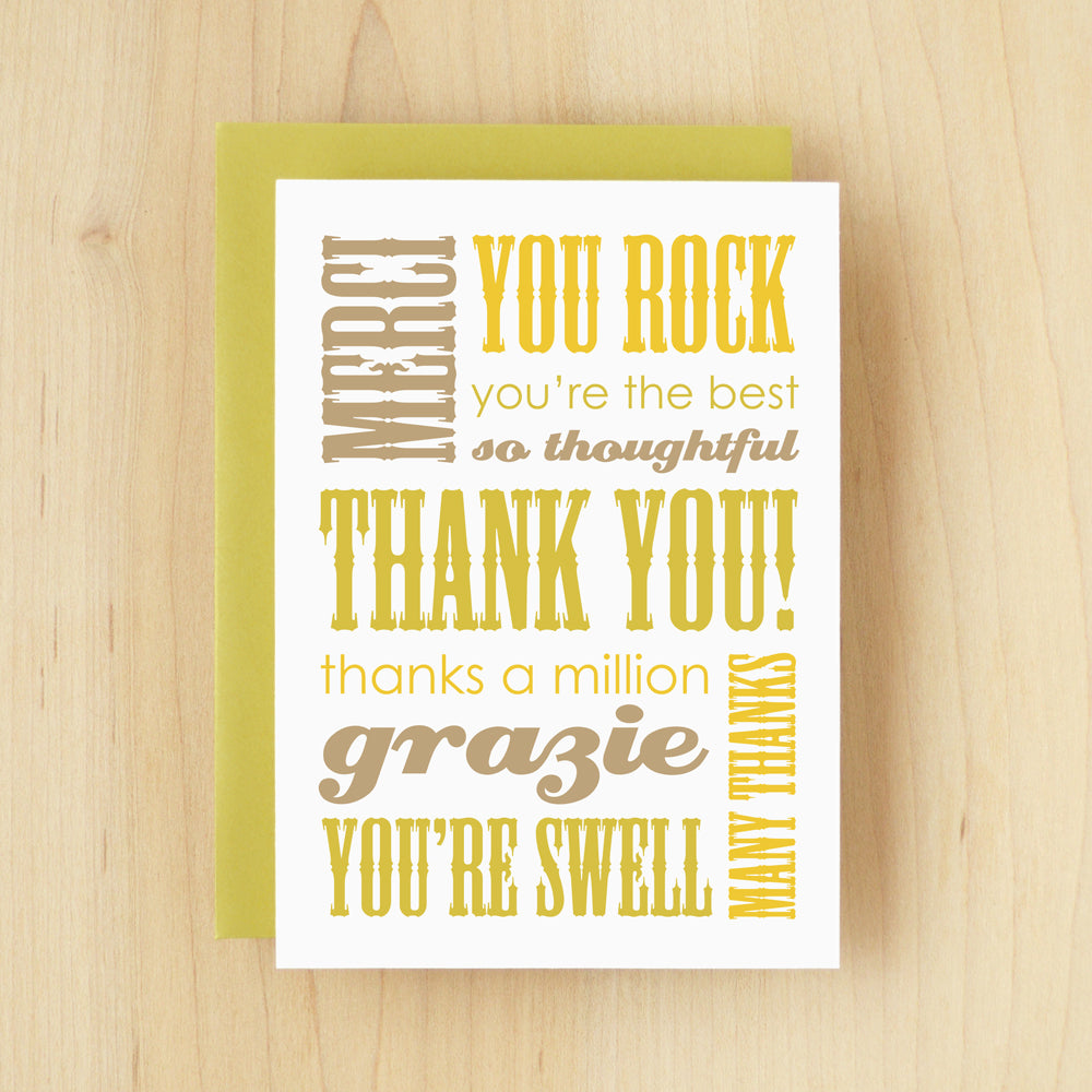 Thank You Slogan Thanks Green Greeting Card 148 Silhouette Blue