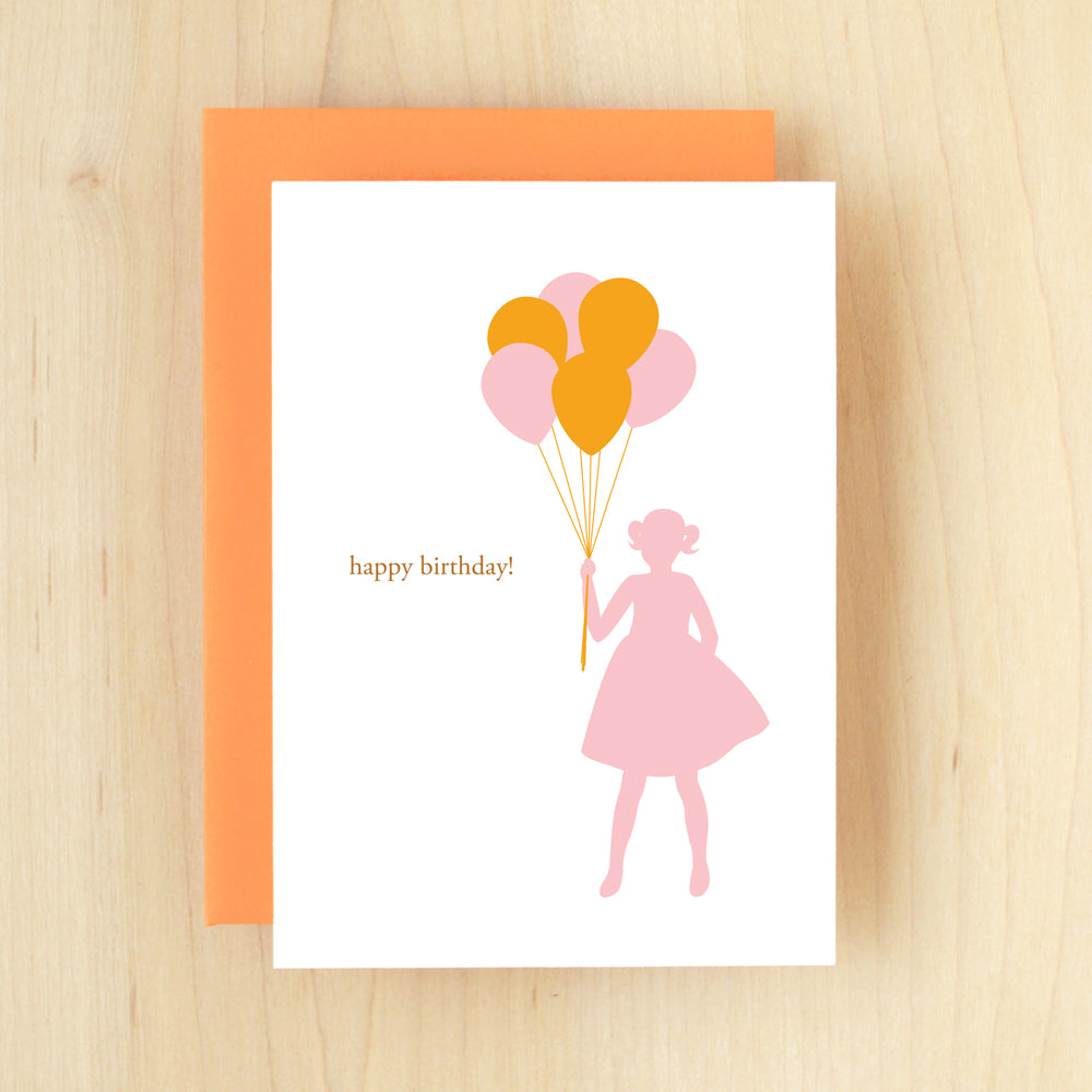"""Happy Birthday!"" Girl Balloons Greeting Card #169"