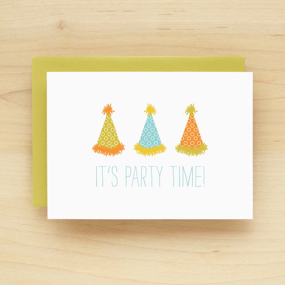 """It's Party Time"" Party Hats Greeting Card #170"