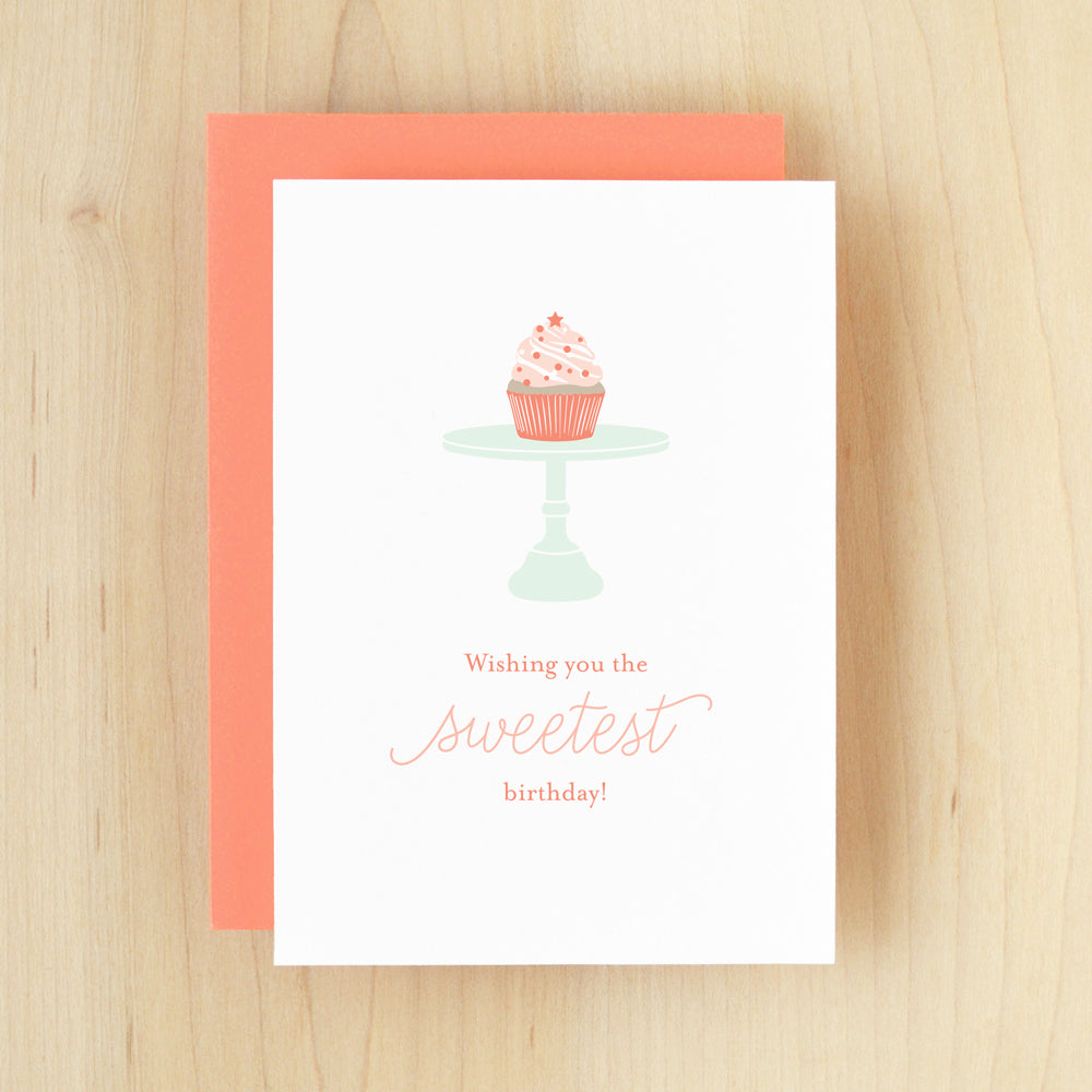 """Wishing You The Sweetest Birthday"" Cupcake Greeting Card #233"