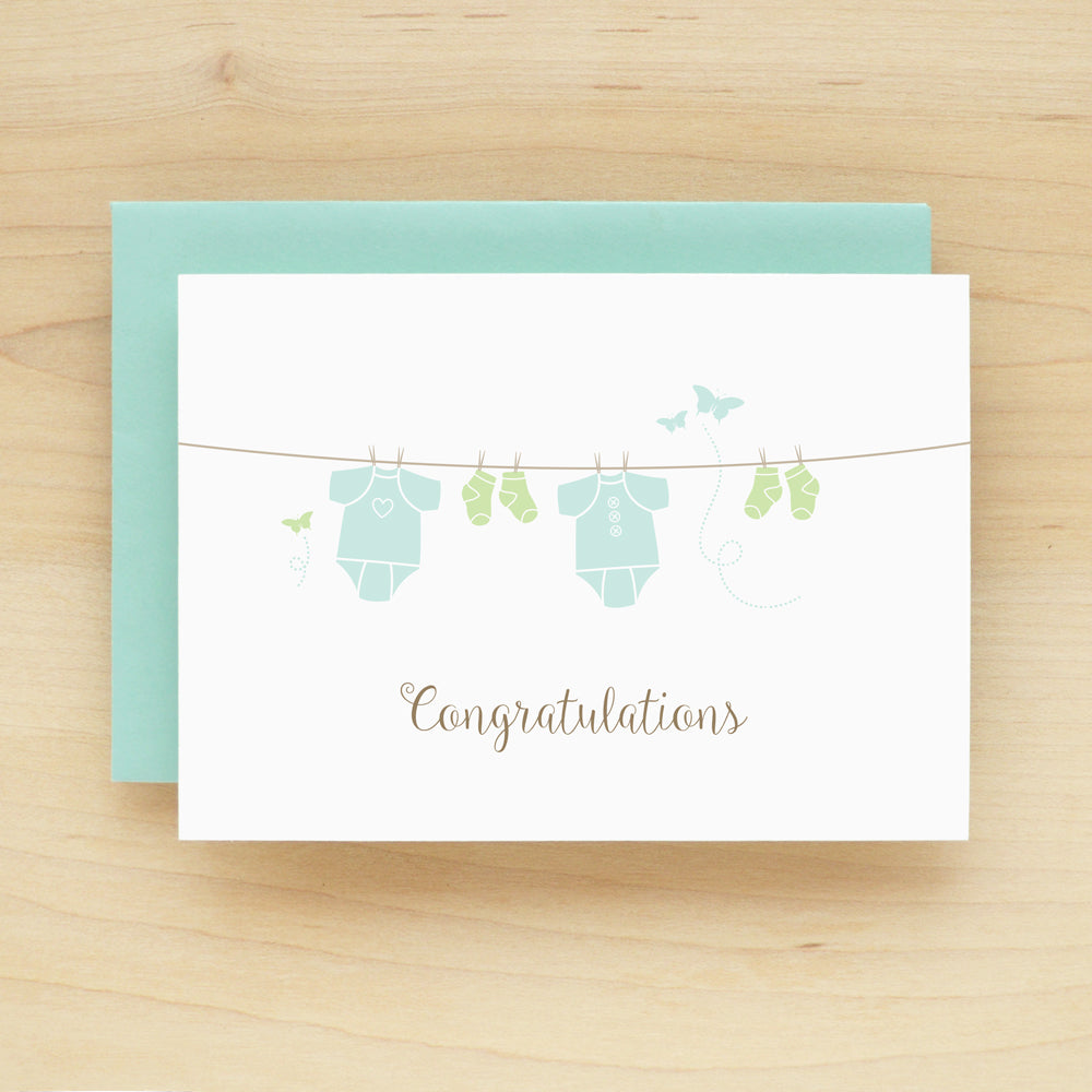 """Congratulations"" Onesie Blue Greeting Card #241"