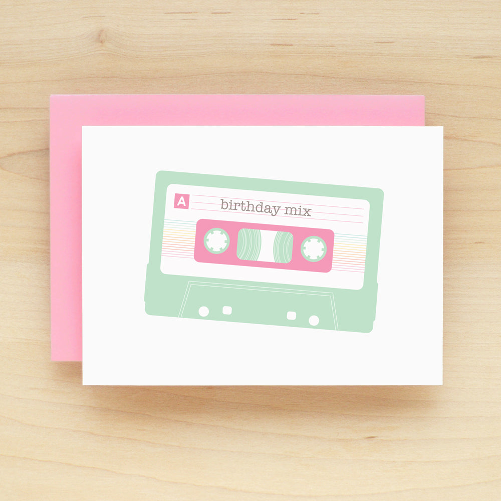 Birthday Mix Tape Pastel Greeting Card