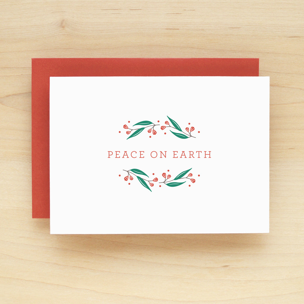 Frolic Red Peace On Earth Holiday Christmas Card Set