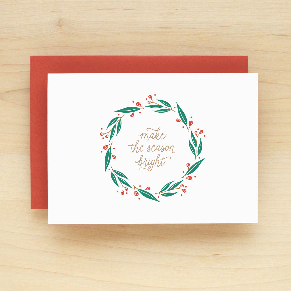 Wreath Holiday Christmas Card Set