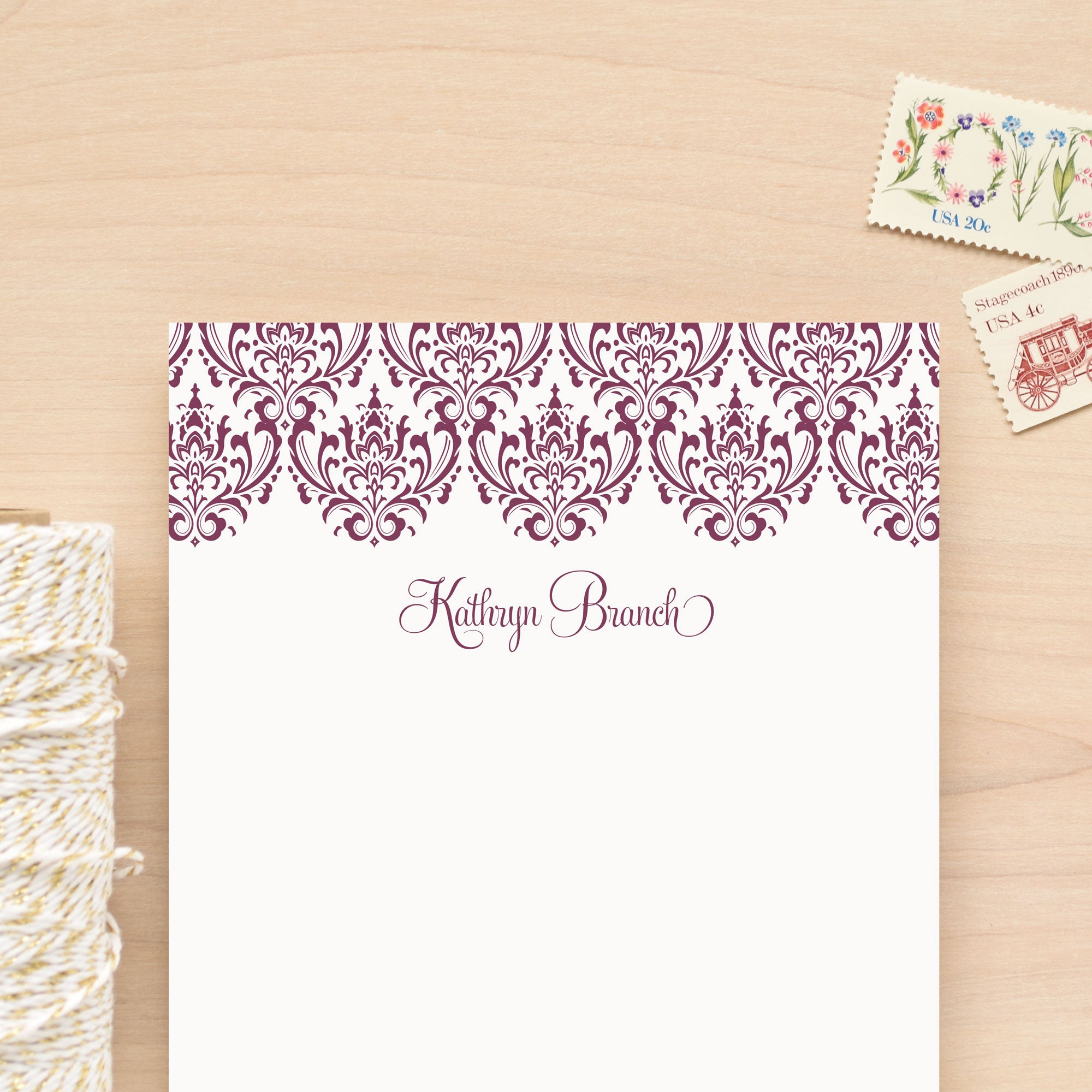 Damask Personalized Notepad